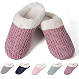 Women's House Shoes Warm Fleece Memory Foam Plush Lining Anti-Slip Cozy Home Slippers Indoor & Outdoor(HS-Pink,36/37EU)
