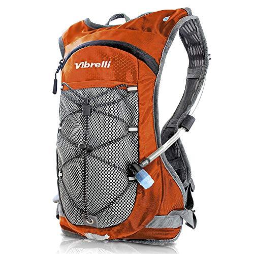 Vibrelli Hydration Backpack & 2L Hydration Bladder - High Flow Bite Valve Hydration Pack - Orange