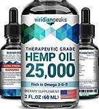 Hemp Oil for Anxiety Relief - 25000MG - Heart & Brain Health Booster - 100% Natural Hemp Oil - Made in USA - De-Stress & Anti Inflammatory - Deep Sleep - Ideal Omega 3, 6 & 9 Balance