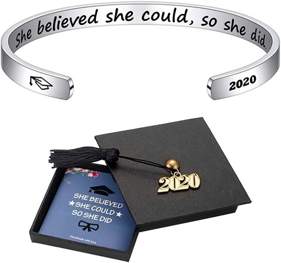 M MOOHAM Inspirational Graduation Gifts Cuff Bracelet - Engraved Inspirational Bracelet Cuff Bangle with 2020 Graduation Grad Cap, Mantra Quote Keep Going Bracelet Graduation Friendship Gifts for Her