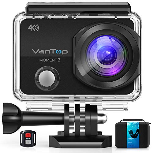 VanTop Moment 3 4K Action Camera w/Gopro Compatible Carrying Case,Remote...