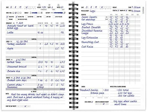 Workout/Fitness and/or Nutrition Journal/Planners - Designed by Experts, w/Illustrations : Sturdy Binding, Thick Pages & Laminated, Protected Cover 4