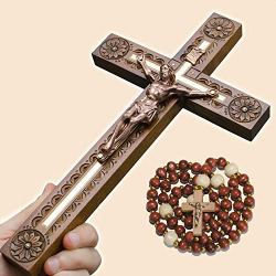 Asterom Unique Crucifix Wall Cross for Home Decor – Wooden Catholic Wall Crucifix – 12 Inch