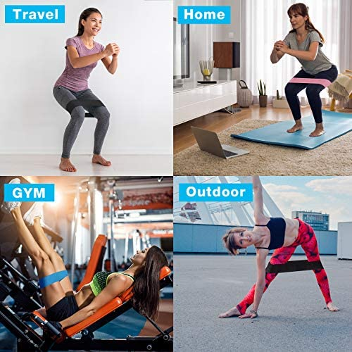 Kootek 10 Pieces Resistance Loop Bands Set – Workout Bands for Leg and Butt Training High Elasticity Exercise Band with Door Anchor 2 Core Sliders Legs Ankle Straps Guide Book for Home Fitness Gym 6