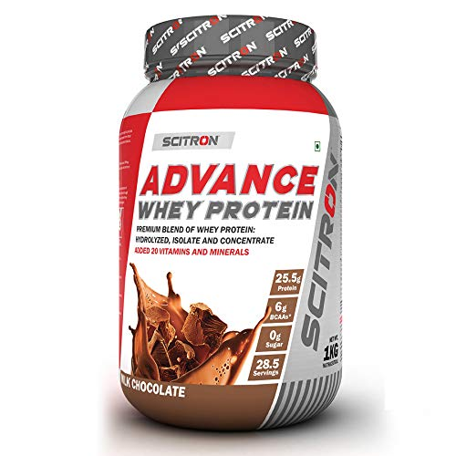 Scitron Advance Whey Protein (28.5 Servings, 25.5g Protein, 6g BCAAs, 0g Sugar) – 2.2lbs (1kg) (Milk Chocolate)