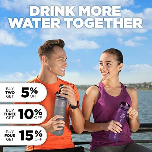 Cactaki 32 oz Water Bottle with Time Marker | BPA Free | Leak Proof | Measures How Much Water You Drink | Best Water Bottle to Stay Hydrated All Day 3