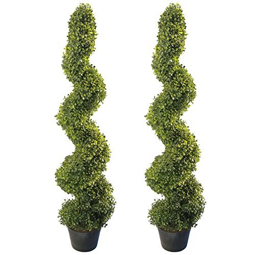 4' Artificial Topiary Spiral Boxwood Trees (Set of 2) by Northwood Calliger   Highly Realistic Potted Decorative Buxus Shrubs   Fake Plastic Plants for Home / Garden   Indoor & Outdoor Use   UV Protec