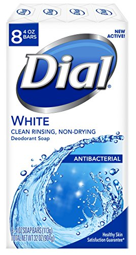 Dial Antibacterial Deodorant Soap, White, 4 Ounce, 8 Bars