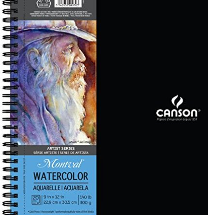 Canson Artist Series Montval Watercolor Paper Pad, Heavyweight Cold Press and Micro-Perforated, Side Wire Bound, 140