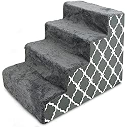 """CertiPUR-US Certified Foam Pet Steps / Stairs for Dogs & Cats by Best Pet Supplies - Gray Lattice Print, 4-Step (H: 19"""")"""