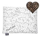 PineTales, Organic Buckwheat Hulls Pillow with Skin Friendly Designer Bamboo Pillowcase, Handmade in Phoenix, AZ, Japanese Size (14 inches x 20 inches)