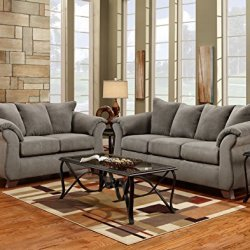 Roundhill Furniture Aruca Sensations Microfiber Pillow Back Sofa and Loveseat Set, Sofa & Loveseat, Gray