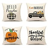 4TH Emotion Fall Harvest Throw Pillow Cover Farmhouse Thanksgiving Buffalo Pumpkin Truck Cushion Case for Sofa Couch 18x18 Inches Cotton Linen, Set of 4