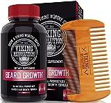 Viking Revolution Men's Beard Growth Vitamin Supplement Tablets - Potent Pills for Maximum Facial Hair Growth for Men - Includes Beard Comb