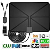 [2019 Latest] HDTV Antenna Indoor Digital TV Antenna, 60 Miles Range with Amplified Signal Booster Support 4K 1080P Freeview Channels - 13.2Ft Coaxial Cable and Power Adapter