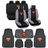 BDK C1604 Superman Seat Cover & Carpet Floor Mats & Sun Shade for Car SUV Van Truck-16 Piece Full Interior Protection Auto Accessory Gift Set
