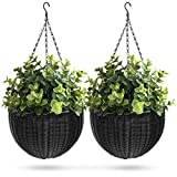 Best Choice Products Set of 2 Patio Garden Round Wicker Rattan Pot Hanging Planters w/ Triple-Chain Hanger - Black