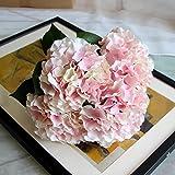 Zhi Jin 5 Heads Large Silk Mallorca Artificial Hydrangea Bouquet Flowers Lifelike Fake Leaf Wedding Home Decor Pack of 2 Pink