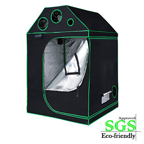 Quictent SGS Approved Eco-Friendly 48'x48'x71' Roof Cube Grow Tent Reflective Mylar Hydroponic with Obeservation Window and Waterproof Floor Tray for Indoor Plant Growing 4'x4'
