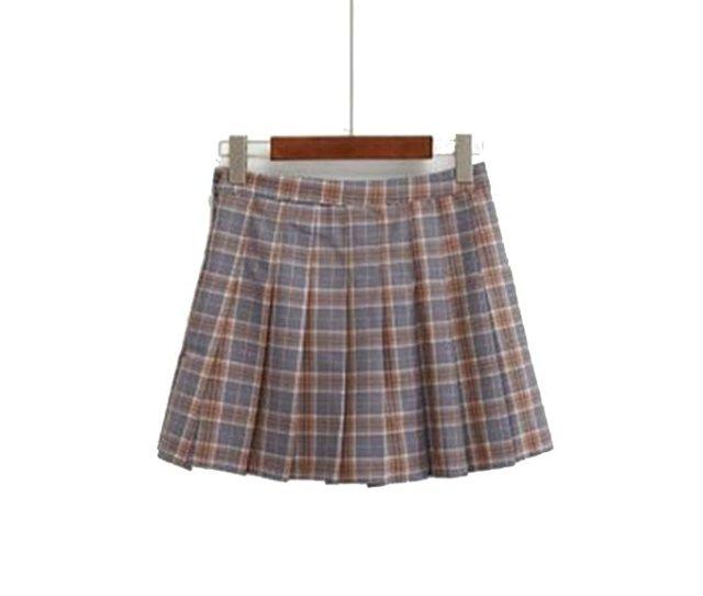 Mywine Harajuku Skirts Womens Korean Summer Plaid Pleated Skirt Rock Kawaii High Waist Brown S