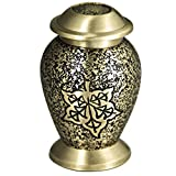 Mini Keepsake Funeral Urn - Brass Cremation Urns for Human Ashes Adult or Pet - Hand Engraved - Fits a Small Amount of Cremated Remains-Display Burial Urn at Home or Office (Avondale Falling Baby Urn