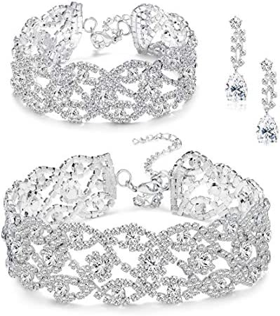 Udalyn Rhinestone Crystal Bridesmaid Jewelry Sets for Women Necklace and Earring Set for Wedding with Crystal Bracelet Prom Jewelry Gift
