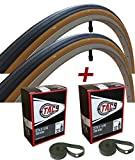 TAC 9 Two Pack - 27x1-1/4 Bike Tire, Bonus Tube and Rim Strip - Select Gum Wall or Black Wall