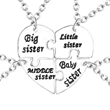 Cherisherre Big Middle Little Baby 4 Sister Heart Puzzle Pendant Necklace Set