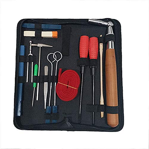 QStyle Piano Tuning Kit - Professional 16 pcs Tools Including Tune Hammer Lever Felt, Mutes, Fork