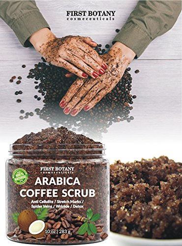 100% Natural Arabica Coffee Scrub with Organic Coffee, Coconut and Shea Butter - Best Acne, Anti Cellulite and Stretch Mark treatment, Spider Vein Therapy for Varicose Veins & Eczema 10 oz 2