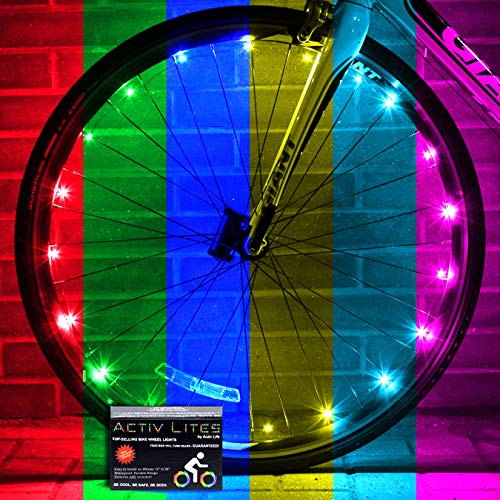 Activ Life LED Bike Wheel Lights with Batteries Included! Get 100% Brighter and Visible from All Angles for Ultimate Safety & Style (1 Tire Pack) (Color-Changing, 1-Wheel)