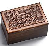 STAR INDIA CRAFT Beautifully Handmade Tree of Life Engraved Wooden Cremation Urns for Human Ashes Adult Dark Brown Indian Rosewood Memorial Pet Urns for Dogs,Wood Box (Medium - 7 x 5 x 3.75)