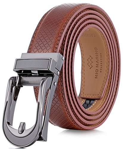 Marino Avenue Mens Genuine Leather Ratchet Dress Belt with Open Linxx Leather Buckle, Enclosed in an Elegant Gift Box - Burnt Umber - Style 141 - Custom Up to 44' Waist
