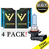 Voltage Automotive 9005 HB3 Headlight Bulb Polarize White Replacement (4 Pack) - Professional Upgrade Head Light Bulb