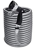 Morvat 150 Foot Stainless Steel Garden Hose with Shut-Off Valve | Heavy Duty Metal | Resistant to Knots, Tangles and Punctures | Includes: 10-Way Spray Nozzle + Heavy-Duty Metal Hose Hanger