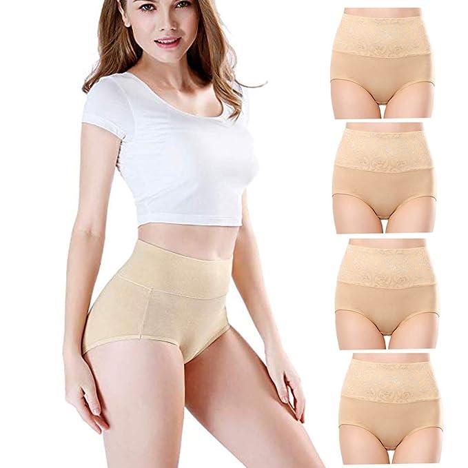 faliring Womens High Waist Cotton Briefs Underwear Tummy Control Panties(4Pack) (Skin, XXLarge)