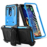 LG K40 Phone Case LG Solo LTE/LG K12 Plus/LG X4 2019 Case w/[Built-in Screen Protector][Kickstand] Heavy Duty Rugged PC Back &Soft TPU Inner Armor Swivel Belt Clip Holster Protective Case,Blue