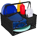 Trademark Innovations 12' x 11' Rattan Tabletop Serveware and Condiment Organizer and Caddy (Black)