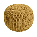 BrylaneHome Bh Studio Hand-Knitted Ottoman Pouf - Maize