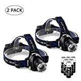 Ultra-bright XML T6 3000 Lumen 3 Mode Tactical Headlight with AAA Batteries Waterproof Taclight Headlamp Hands-Free Taclamp (2 Pack)