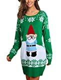Idgreatim Women Ugly Christmas Knit Jumper Sweater Dresses Casual Xmas Party Tunic Top Green