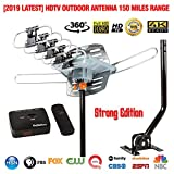 Five Star Outdoor HD TV Antenna Strongest Up to 150 Miles Long Range with Motorized 360 Degree Rotation, UHF/VHF/FM Radio Infrared Remote Control with Mounting Pole & 40FT RG6 Coax Cable Support 2 TVs