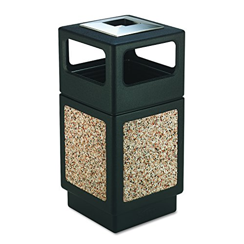 Safco Products Canmeleon Outdoor/Indoor Aggregate Panel Trash Can with Ash Urn 9473NC, Black, Decorative Fluted Panels, Stainless Steel Ashtray, Weather Resistant