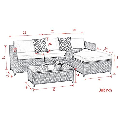 Outdoor-Patio-Furniture-set-5pc-PE-Wicker-Rattan-Sectional-Furniture-Set-with-Cream-White-Seat-and-Back-Cushions-Steel-Frame-Red-Throw-PillowsGray
