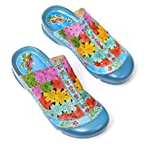 gracosy Women Leather Sandals, Summer Flat Slippers Colorful Flower Slip-on Loafers Comfort Outdoor Mule Clogs Shoes Blue-s 8 M US