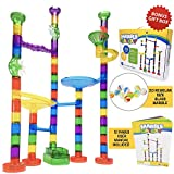 Marble Run Track Toy Set – Translucent Marble Maze Race Game Set By Marble Galaxy – Fun Educational STEM Building Construction Toys For Kids - 90 Sturdy Colorful Marbulous Pcs & Glass Marbles