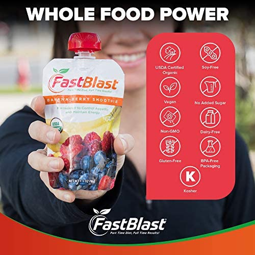 FastBlast Banana-Berry Smoothie. Supports Intermittent Fasting. Controls Appetite and Maintains Energy. USDA Certified Organic, Vegan, Non-GMO, Soy Free & No Added Sugar (12 Units) 9