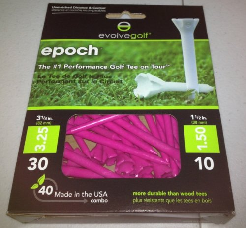 Epoch Evolve Golf Tees (40 Count Combo Pack with 30 3.25-Inch and 10 1.5-Inch Tees), Pink