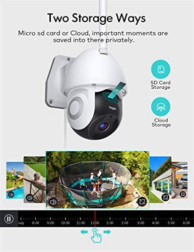 Security Camera Outdoor, Voger 360° View WiFi Home Security Camera System 1080P with IP66 Weatherproof Motion Detection Night Vision 2-Way Audio Cloud Camera Works with Alexa and Google Home 20