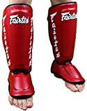 Fairtex Twister Shin Guards-Red-Large